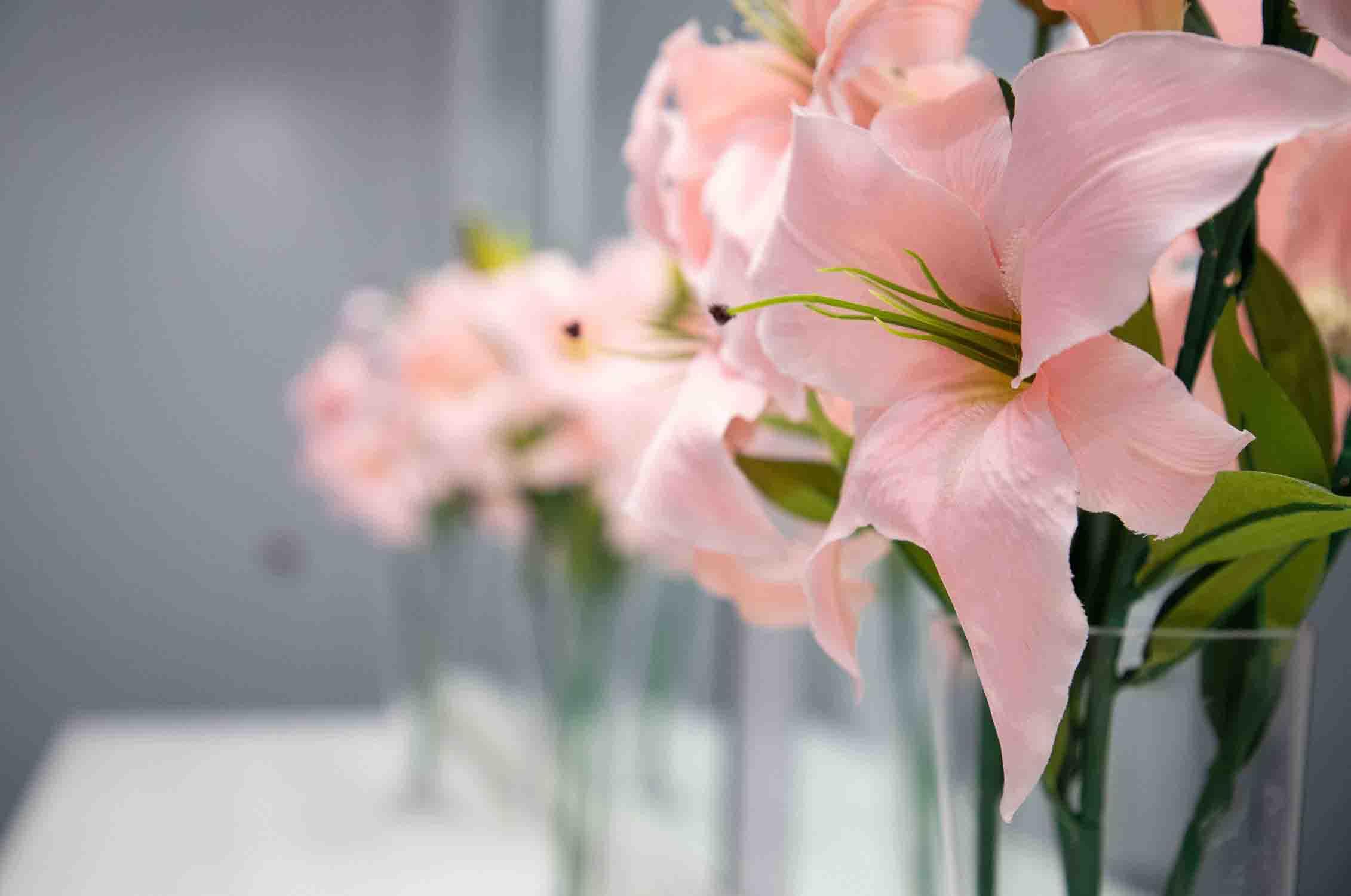 pink florals in vase