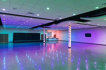 layout of venue with ambiance lighting